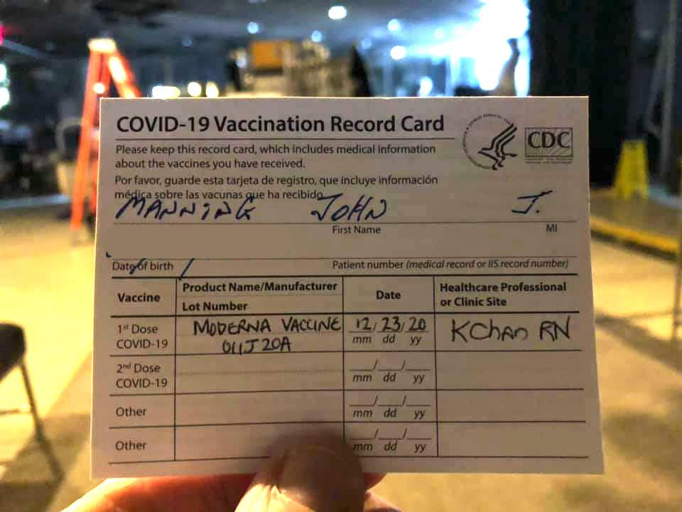 John Manning's COVID vaccine card